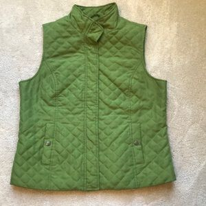 Green quilted vest.